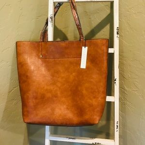 Cognac Nuddo Faux Leather Tote